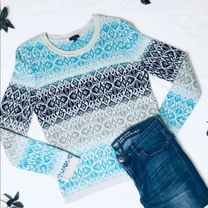 Talbots | cozy ice blue holiday sweater M
